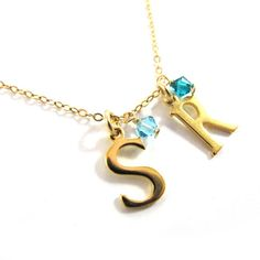 Two Initials Charm Necklace  Gold Initial with a by SariGlassman, $39.00