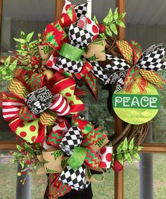 Christmas Grapevine Wreath / Peace by SouthernWhimsyStyle on Etsy