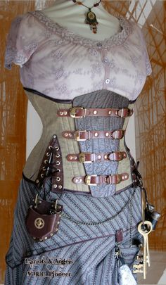 Stunning Linen /Leather Buckled Tightlacing corset