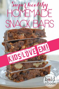 "These Super Healthy Homemade Snack bars are chocolatey, nutty and ADDICTIVE!  Bonus: KIDS LOVE ""EM."