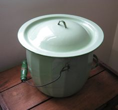Jade Green Enamel Chamber Pot / Slop Bucket, I remember these all to well when we visited gramma in the country!