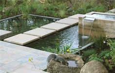 Concrete Walkway Huettl Landscape Architecture Walnut Creek, CA Pond Landscaping, Landscaping With Rocks, Modern Landscaping, Backyard Water Feature, Ponds Backyard, Pond Design, Garden Design, Landscape Architecture, Landscape Design