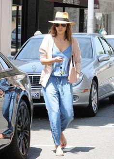Celebrity Fashion and Style - Jessica Alba - Denim Jumpsuit and Boyfriend Cardigan Sweater