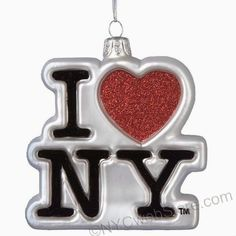 I Love NY Christmas Ornament, Logo Shaped glass. 4 inch New York ornaments to remember your New York vacation. (http://www.nycwebstore.com/i-love-ny-glass-logo-ornament/)