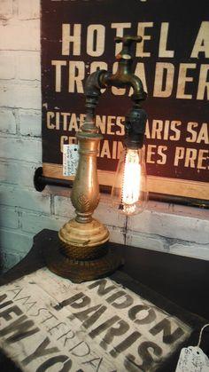 STEAMPUNK Water Faucet Lamp Light Repurposed by ZoeysUberChicLoft, $115.00