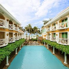 The pool and beach front view from one of Boracay Mandarin Island Hotel De Luxe Rooms
