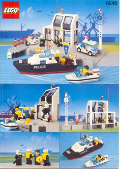 LEGO 6540 Pier Police instructions displayed page by page to help you build this amazing LEGO Town set Lego Police, Classic Lego, Lego Knights, Lego Boards, Lego Trains, Vintage Lego, Lego Projects, Train Layouts, Cool Lego