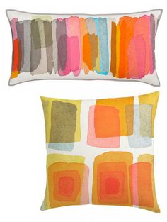 Love these colorful pillows with an urban feel. Watercolor Pattern, Watercolor Print, Creative Textiles, Fabric Painting, Soft Furnishings, Home Textile, Cushion Covers, Decoration, Fiber Art