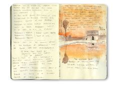 Reflecting pools in Marrakech, Morocco.  Travel journal sketch in orange and brown Winsor Newton ink.