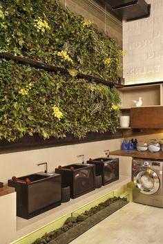 Laundromat Business, Laundry Shop, Laundry Design, Timber Panelling, Vertical Gardens, Winter Garden, Lounge, Bar, Interior Design