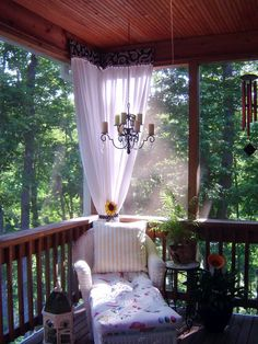 Romantic Porch With Chaise Lounge