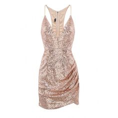 Yoins Yoins Sequin Dress (£14) ❤ liked on Polyvore featuring dresses, gold, v neck bodycon dress, bodycon cocktail dress, spaghetti strap dress, cut out cocktail dresses and cutout dress