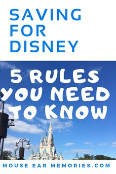 Saving and Planning for a Disney World Vacation is fun when you plan ahead! Make the most of your budget and trip with these 5 Rules for Saving Money for a Disney World Vacation. Cheap Disney Vacation, Disney Money, Disney On A Budget, Disney Tips, Vacation Ideas, Orlando Travel, Orlando Vacation, Disney Destinations, Walt Disney World Vacations