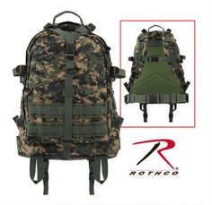 woodland digital camo large transport pack h.w. 600 denier poly, large main compartment with zippered mesh pouch, front compartment with exterior zippered pocket, water repellent pockets and lining, waterproof rubberized bottom, m.o.l.l.e. and hydration bladder compatible, adjustable padded shoulder straps with d-rings, adjustable/removable waist belt, padded back with breathable mesh backing, top and side adjustable web straps with quick release buckles, top carry handle. 19 in. x 15 in. x…