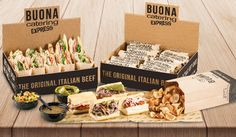 """Your parties and casual gatherings are about to get a whole lot better. Introducing our NEW Hot and Cold Party Boxes. Each packed with pre-made, ready-to-eat, 3.5"""" sandwiches of your choice including a side of our delicious, homemade Parmesan chips. Available in quantities of 12 and 24 at your earliest convenience. Order now at any Buona location! #PartyBox #PerfectForAnyOccasion #OrderNow #Catering #BuonaBeef"""