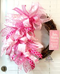 Baby Sleeping Please Knock Softly (Girl) Pink Funky Bow Deco Mesh Grapevine Wreath by AQuaintHaberdashery on Etsy