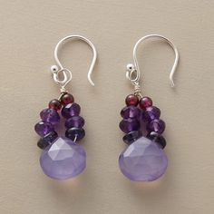 """PAINTER'S PALETTE EARRINGS -- Gems drawn from the red-to-blue spectrum of a painter's palette blend beautifully. With garnets, amethysts, chalcedony and iolites. Sterling silver French wires. Exclusive. Handmade in USA. 1-1/2""""L."""
