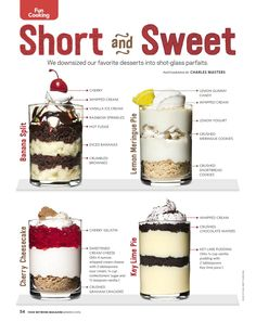 Food Network Magazine, Mar (page Mini Dessert Shooters, Mini Dessert Cups, Dessert In A Jar, Cinnamon Roll Cheesecake, Cheesecake In A Jar, Cheesecake Desserts, Cheesecake Shooters, Dessert Party, Dinner Party Desserts