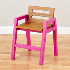 Two-Tone Teak Play Chair (Magenta)  | The Land of Nod