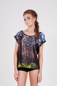 Sunset Forest  Australia Silk and Black Bamboo/Organic Cotton TShirt/Blouse