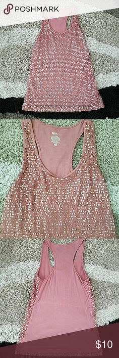 Sequinned tank Mossimo rayon tank with mesh sequinned overlay.  Beautiful rose color.  Perfect for date night or under a blazer for work. Mossimo Supply Co. Tops Tank Tops