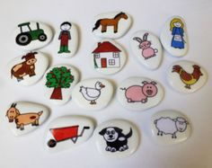 Down at the farm story stone collection Stone Crafts, Rock Crafts, Craft Stick Crafts, Arts And Crafts, Stone Art Painting, Pebble Painting, Pebble Art, Diy For Kids, Crafts For Kids