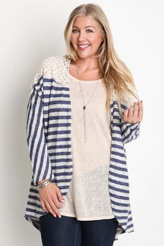 Striped Kimono Sweater With Lace Detail