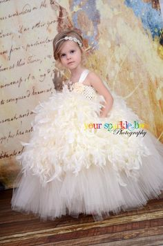 Ivory Feather Tutu Dress