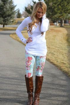 Street Style With Floral Leggings White Top And Long Boots
