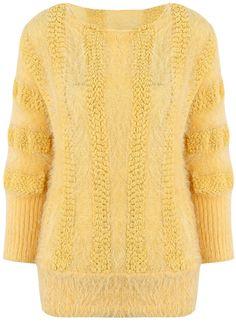 Yellow Batwing Long Sleeve Mohair Knit Sweater - Sheinside.com