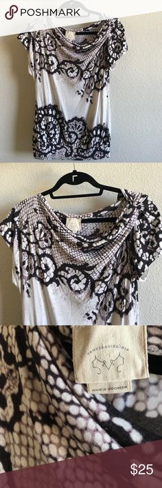 Vanessa Virginia Lace Print Drapey Tee This is stunning! 100% Rayon so very soft and supple. EUC and 20% off any 2 🤗 Anthropologie Tops Tees - Short Sleeve