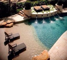 Wade in pool...safer for pets and kiddos, plus it looks awesome!
