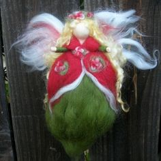 Christmas Angel - Red and Green Holiday Fairy- Needle felted wool fairy Waldorf inspired by Rebecca Varon by aida