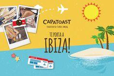 Capatoast questa estate ti porta ad IBIZA!!! 🏄🍞 Scatta una foto con i nostri Toast e condividila sul tuo profilo Facebook e/o Instagram utilizzando l'hashtag: #CAPATOAST. Scatena la tua fantasia: la foto più originale e più rappresentativa vincerà un viaggio di quattro giorni (volo+hotel) per n.2 persone nella magica isola del Mediterraneo: IBIZA! 😊 Consulta il regolamento completo sul sito capatoast.it