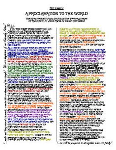 YW value colour coded family proclamation