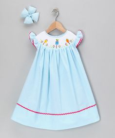 Take a look at this Turquoise Bird Seersucker Dress & Clip - Infant & Girls by Molly Pop Inc. on #zulily today!