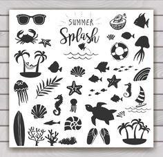 Summer vintage silhouettes and doodles realy great choice for logo, quotes, poster, t-shirt, label, sticker and any vintage design with summer theme.