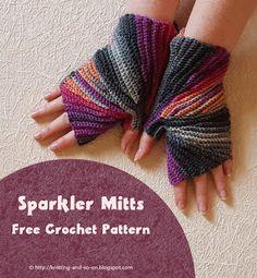 Sparkler Mitts - free crochet pattern by Knitting and so on Crochet Mitts, Crochet Gloves Pattern, Free Crochet, Knit Crochet, Crochet Humor, Crochet Mandala, Crochet Afghans, Crochet Blankets, Double Crochet