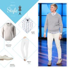 Ellen's Look of the Day: button up, v neck sweater, white pants, and saddle shoes