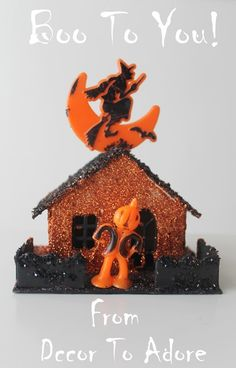 Creepy Glitter Halloween Houses and Autumnal Seasonal Giftwrap this post shares how you can make your own decor and more. Halloween 2015, Halloween House, Autumn Home, Make Your Own, Creepy, Clock, Gift Wrapping, Glitter, Seasons