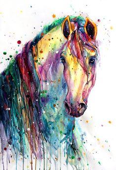 Horse Fabric, Watercolor Horse Head and Mane Fabric Panel 2046 Watercolor Horse, Watercolor Animals, Tattoo Watercolor, Watercolour, Horse Drawings, Animal Drawings, Pintura Graffiti, Arte Equina, Tableau Pop Art