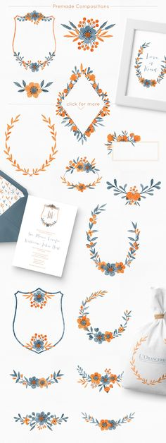 Floral Graphics Set wreaths crests and dividers - Fleur d'orange by By Lef on @creativemarket -ad
