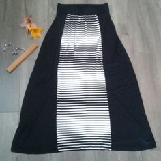"""Black/white straight maxi skirt Size S maxi skirt in black with white stripes down the front. About 36"""" in length. Made of cotton, NWOT. Think waistband made of elastic. Super adorable!!! Style & Co Skirts Maxi"""