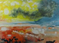 John Piper, Swansea: Towards the Gower, screen-less offset lithograph by Adrian Lack at the Senecio Press, 35 x 46 cm. Centrefold image for Dylan Thomas, Deaths and Entrances published by Gregynog Press in a limited edition of Coventry Cathedral, John Piper, Dylan Thomas, Swansea, Printmaking, Watercolor, Landscape, Abstract, Artwork