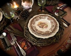 Nancy's Daily Dish: A Brown and Aubergine Tablescape for Fall with Pheasants and Transferware