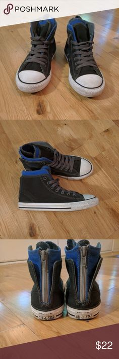 Youth Converse Chuck Taylor High Tops Excellent condition, Black, blue, gray youth sz 3 Chuck Taylors. Zip back detail. Converse Shoes Sneakers