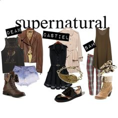 supernatural outfits: no to the plaid pants, I would use regular jeans and wear a plaid shirt over the green tank Supernatural Inspired Outfits, Supernatural Fashion, Supernatural Clothes, Supernatural Cosplay, Nerd Fashion, Fandom Fashion, Fashion Outfits, Punk Fashion, Lolita Fashion