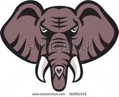 Illustration of an african elephant head angry with tusk facing front set on isolated white background done in retro style. - stock vector #elephant #retro #illustration