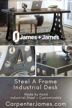 Make a statement in your office with the Industrial A Frame Desk. Constructed from Solid Steel, this fully customizable desk is made to order in the size you need. Choose from shipping or delivery options based on your location - unique office furniture hand made and customizable! #officegoals #industrialoffice #solidsteeldesk #JamesandJamesfurniture #northwestarkansas #homeoffice #officefurniture