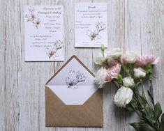 Złocone zaproszenia ślubne z motywem kwiatowym.  Gold wedding invitation with flovers Place Cards, Place Card Holders